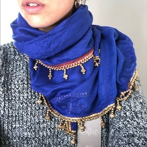 Anthropologie Gold Beaded Square Blue Boho Scarf